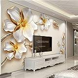 Chlwx 400cmX280cm (157.5inX110.216in) Hohe Qualität Tiefen Textur 3D Wandbilder Goldene Blumen Schmuck Luxus Fototapete Wohnzimmer Hotel Hintergrund Wand Fresko