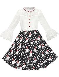 Sunny Fashion Vestido para niña Encaje Perla ciruela Flor Distinguido Princesa 7-14 años