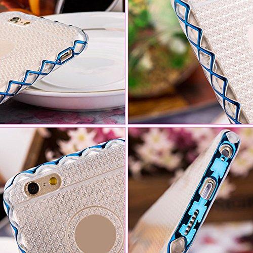 Cuitan 2 in 1 Hülle Schutzhülle für Apple iPhone 6 plus / 6S plus (5,5 Zoll), TPU Weich Innen Hülle und PC Harte Rahmen Bumper Transparent Durchsichtig Rück Abdeckung Back Cover Case Handytasche Rücks Blau