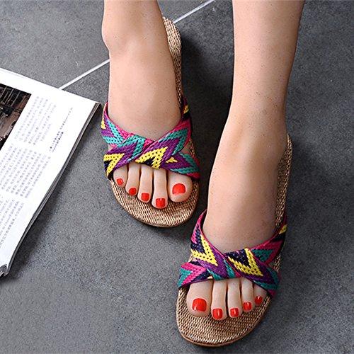 Eizur Ciabatte Antiscivolo Punta Aperta Pantofole Lino Sandali Scarpe Piatte Scarpe da spiaggia Ciabatte da Piscina Doccia Casuali Scarpe Tipo 1