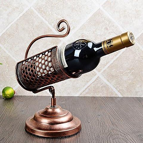 Vintage Wine casier à vin en rack fer forgé casier à vin ornements de ménage de longueur 19cm, largeur 14cm, hauteur 28cm