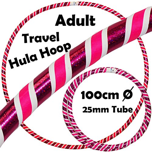 PRO Hula Hoops 3-COLOUR  Ultra-Grip Glitter Deco  Weighted TRAVEL Hula Hoop   Fastening Strap  100cm 39   - Hula Hoops For Exercise  Dance   Fitness   640g  - Pink   White   Purple Glitter
