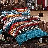 Lanqinglv Bohemian Bettwäsche 200x220 cm 3 Teilig Orange Boho Indischen Mandala Böhmisch Wendebettwäsche Set Bunt Vintage Bettbezüge mit Reißverschluss und Kissenbezug 80x80cm (WCF,200x220)