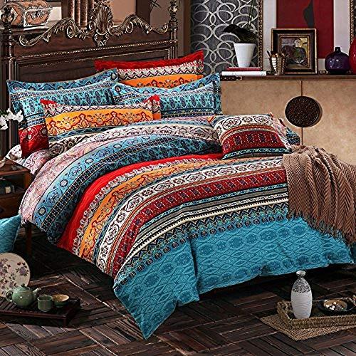 Lanqinglv Bohemian Bettwäsche 135x200 cm 2 Teilig Boho Indischen Mandala Bettwäsche Set Renforce mit Reißverschluss Bettbezug und Kissenbezug 80x80cm (WCF,135x200 - Erwachsene Bettwäsche
