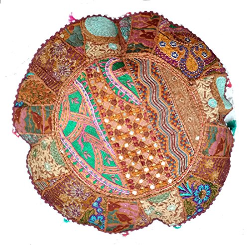 RASTOGI Kunsthandwerk Meditation Kissen – Indian Pouf Bio Baumwolle – Old Sari Patch Work...