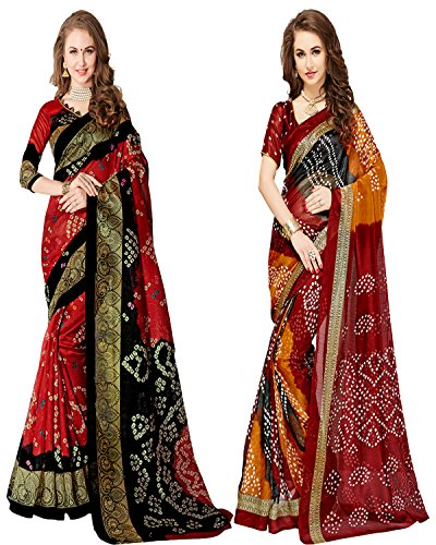 Glory Sarees Women's Bhagalpuri Art Silk Bandhani Saree Combo Pack of 2(bandhani28&29_red_black_multi)