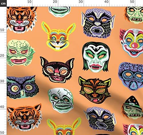 Retro, Masken, Kostüm, Sept2016monstermash Stoffe - Individuell Bedruckt von Spoonflower - Design von Pinkowlet Gedruckt auf Baumwoll Spandex Jersey ()