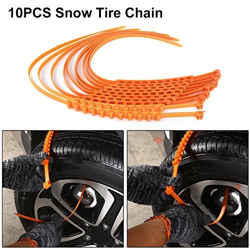 Auto-Reifen-Kette, rutschsicher, Notfall-Reifen-Kette, mit Handschuhen und Schaufel, für Sand und Schnee, 10 Stück (Schneeketten Für Kleine Reifen)