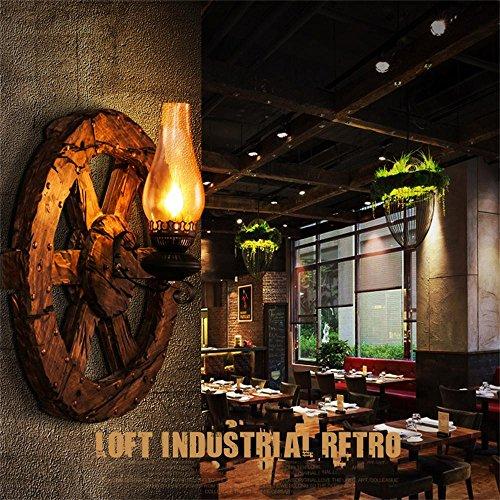 Innenwandleuchte, Amerikanischen Retro-Stil LOFT industrielles Netzwerk Cafe Bar Kerzenständer Nacht Wohnzimmer Schlafzimmer Holzruder wandleuchte Nachtlicht