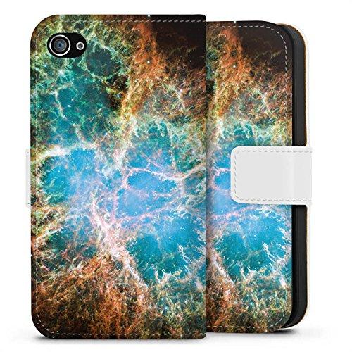 Apple iPhone X Silikon Hülle Case Schutzhülle Galaxy Muster Universum Sideflip Tasche weiß