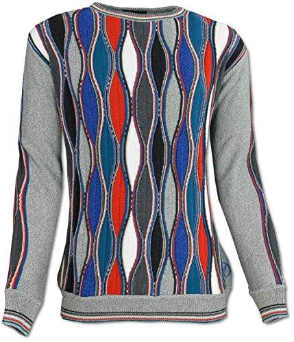 Carlo Colucci Intarsien-Pullover aus Baumwoll-Mix, Rundhals-Ausschnitt Grau
