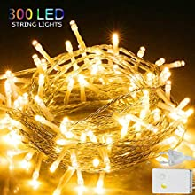 LED String Lights, WOVTE Twinkle Star 3x3 M 300 LED Window Curtain Fairy String Lights Wedding Holiday Party Home Garden Bedroom Outdoor Indoor Wall Decorations, Warm White