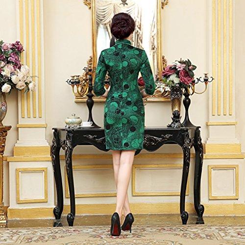 ACVIP Vestito Donna Corto di Velluto a Maniche Medie Abito da Mini Verde scuro