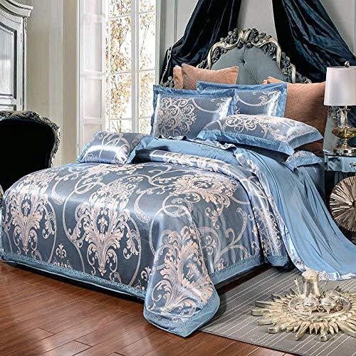 yaonuli Hochwertige Satin Jacquard Baumwolle vierteilige Baumwollbettlaken Bettbezug Romantic Bliss 1.8 Bett; Bettbezug 200 * 230 Blatt 250 * 250 Kissenbezug 48 * 74