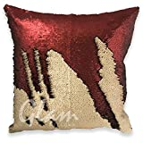 FREE DELIVERY - GrabClassy- Genie Cushion Cover-MATTE BRICK RED & BEIGE 16 x 16 inches Mermaid Pillow / Glam Pillow / Sequin cushion / best gift / Pillow not Included