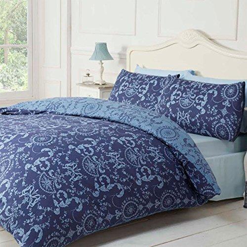 Ornamental Juego de cama de funda de edredón con diseño de patrón de Damasco, reversible), diseño floral, azul marino, 135x200x0.2 cm