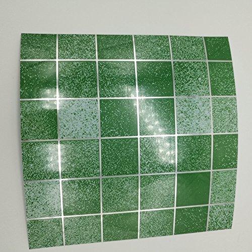 dooxoo Fliesenaufkleber für 150mm (15,2cm) quadratisch Fliesen realistisch Stick auf der Wall Fließen Tile Stil Decals, schälen und Stick auf Fliesen zu verwandeln, Küche, Badezimmer Ölfest, wasserdicht Fliesenaufkleber, hitzebeständig Sticks auf Fliesen Küche Fliesen Aufkleber/Badezimmer Fliesenbild (Set von 24) - 6 inch x 6 inch ( 150mm x 150mm ) - Mosaic Green - 6-zoll-decal
