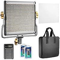 Neewer Regulable Bi-color 480 LED Luz de Video CRI 96 + 3200-5600K con Soporte U, 2 Piezas de Batería recargable de ion de litio y Cargador USB para Cámaras DSLR Fotografía del estudio Fotografía, YouTube Grabaciones de Video