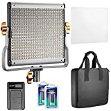 Neewer Pannello Luce LED Dimmerabile Bicolore 480 LED 3200-5600K CRI 96+ con Supporto Staffa-U, 2 Batterie a Litio Ricaricabili & Caricabatterie a USB per Reflex Digitali Fotografia in Studio, Registrazioni Video per Youtube