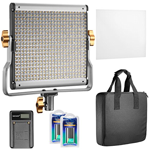 Neewer Dimmable Bi-Color 480 LED Video Licht CRI 96+ 3200-5600K mit U Halterung, 2 X Wiederaufladbare Li-Ionen-Akku und USB-Ladegerät für DSLR Kamera Foto Studio Fotografie, YouTube Video Shooting 12v Ac Batterie-kit