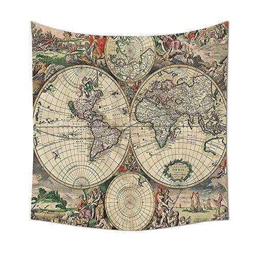 Old World Globe Weltkarte Antik historischen Amerika Afrika Europa Muster Einzigartige Dekor Digital gedruckte Wandteppich für Wohnzimmer Schlafzimmer Wohnheim Decor Beige Grün Grau Orange, multi, 59.05 x 59.05 Inch