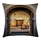 beautiful& Moroccan Pillow Case Typical Moroccan Door to Old Medina Mediterranean Historical Arch Entrance Photo Throw Pillow Covers 20x20 Inches