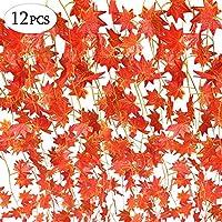 SPECOOL Autumn Garland, 12 hebras (90 pies) Hojas de Arce Artificial Rojo Arce Vine Ivy verdor otoño Hojas Guirnalda Colgante Planta para hogar Cocina Acción de Gracias, Otoños, decoración de Boda