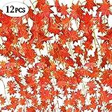 SPECOOL Herbst Girlande, 12 Strähnen (90 Füße) Künstliche Ahorn Blätter rot Ahorn Vine Ivy Greenery Autumn Leaves Girlande