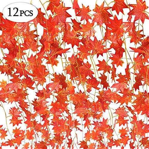 SPECOOL Autumn Garland, 12Fili (90Piedi) Foglie d' Acero Rosso Acero Artificiale Vite edera Verde Autumn Leaves Garland Appeso pianta per casa Cucina Thanksgiving Autumns Wedding Decor