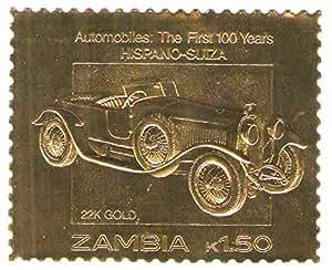 22k carat gold leaf auto 100 klassische automarkenhispano suiza 1987 sambia mnh. Black Bedroom Furniture Sets. Home Design Ideas
