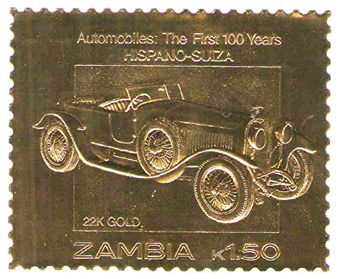 22k-carat-gold-leaf-auto-100-classici-francobolli-auto-hispano-suiza-1987-zambia-mnh