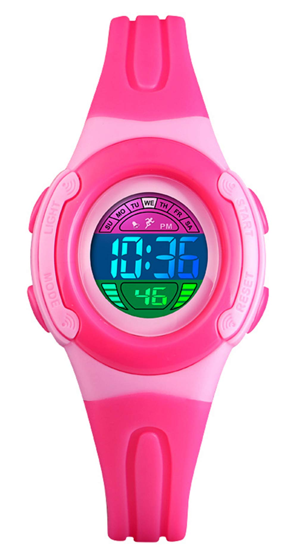 BHGWR Girls Watches, Daily Waterproof Kids Digital Watch with Stopwatch/Alarm/Colorful EL Light, Childrens LED Sport Wrist Watches for Girl – Pink