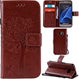 Ooboom® Samsung Galaxy S7 Case Cat Tree Pattern PU Leather Flip Cover Wallet Stand with Card/Cash Slots Packet Wrist Strap Magnetic Clasp for Samsung Galaxy S7 - Coffee