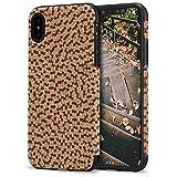 TENDLIN iPhone XS Hülle/iPhone X Hülle Kork Material außen Design mit TPU Silikon Hybrid Guten Grip Slim Case für iPhone XS/X (Dunkle Farbe)