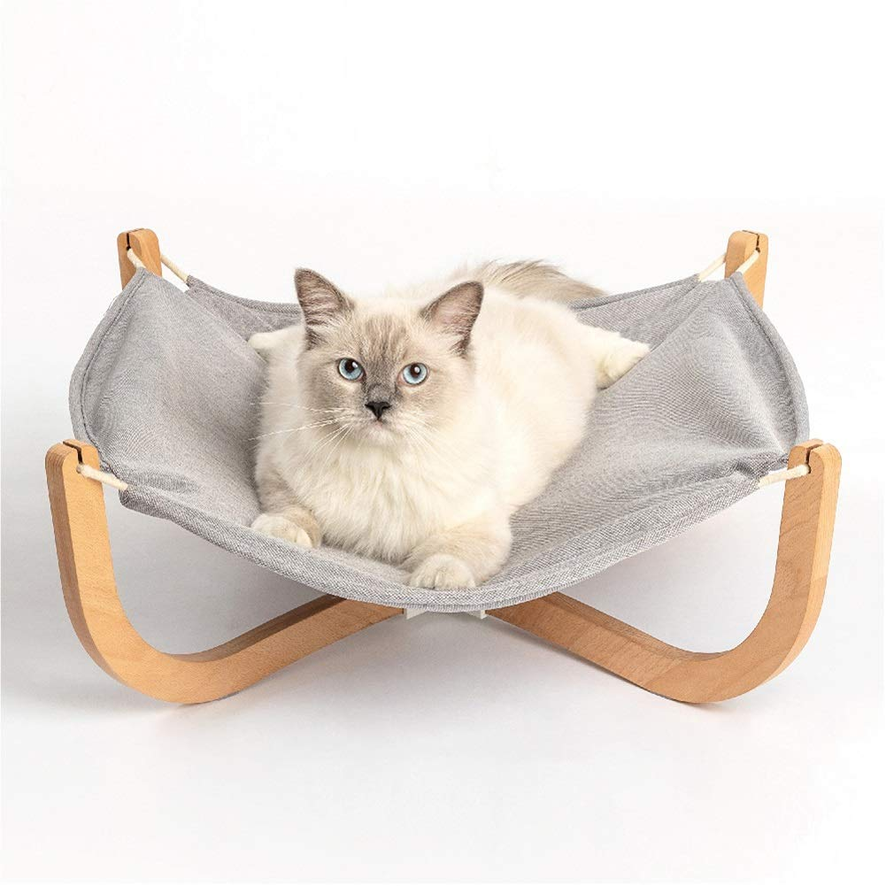 ZXPzZ Pet Nest Solid Wood Cat Hammock Wooden Four Seasons Universal Easy To Store Cat Climbing Frame