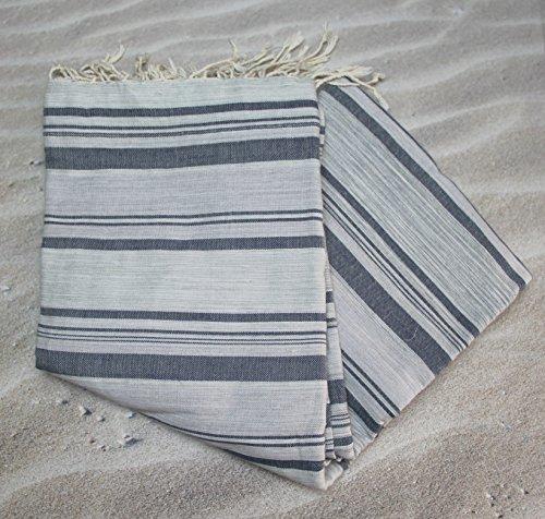 Grande fouta tunecina rayas gris & negro Ref 35–se Utilise en–Manta Cama o Sofá XXL 200x 300cms–100% algodón peinado