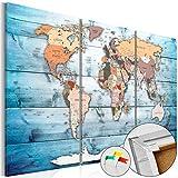Neuheit! Weltkarte mit Kork Rückwand 60x40 cm - dreiteilig Bilder Leinwandbild Poster Pinnwand Kunstdruck Weltkarte Holz Landkarte Karte Kontinent k-C-0035-p-h 60x40 cm B&D XXL