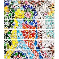 Jolliwin Fliesen-Aufkleber-Badezimmer-Badezimmer-Dekoration-Badezimmer-Entwurfs-Film 18x100cm Thema-kreative Blumen-bunte Straße 6 Stücke