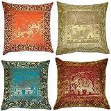 ANJANIYA 4Banarsi Soie Housse de Coussin Style Indien Elephant Soie Taie d'oreiller Décoratif Canapé Housse de Coussin à Fermeture Éclair 40,6x 40,6cm 16x16 inches Silk Elephant