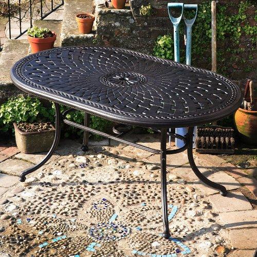 June 150 x 95cm Gartenmöbelset Aluminum - 1 JUNE Tisch + 6 Emma SA Stühle