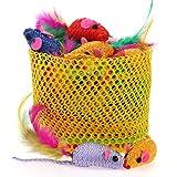 Chiwava 5,1cm Jouet pour chat en corde, souris coloré Petite Souris avec plumes Jouet à attraper pour chaton Mix couleurs