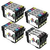 Palmtree Compatible Cartucho de tinta Epson T0715 (T0711 T0712 T0713 T0714) Para Epson Stylus SX218 SX515W SX400 SX200 SX600FW SX610FW BX3450F D78 D92 D120 DX4000 DX4050 DX4400 DX4450 DX5000 DX5050 DX6000 DX6050 DX7000F DX7400 DX7450 DX8400 DX8450 DX9400F S20 S21 SX100 SX110 SX105 SX115 SX205 SX209 SX210 SX215 SX405 SX405WiFi SX410 SX415 SX510W BX600FW B40W BX300F BX310FN, 15 packs(6 Negro,3 Cian,3 Magenta,3 Amarillo)
