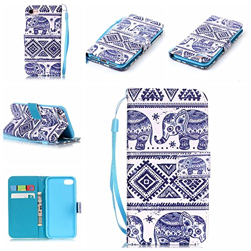 Custodia iphone 7 Plus, iphone 7 Plus Case, Cozy Hut ® Retro Colorful Drawing Art Painted Premium PU Leather Magnetic Flip Wallet Cover with Detachable Hand Lanyard & Card Slots & Stand Function for A Tribes come