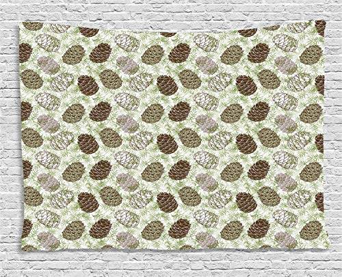 VTXWL Pine Cone Tapestry, Forest Conifers Greenland Foliage Spruce Tree Woodland Style Botany, Wall Hanging for Bedroom Living Room Dorm, 80 W X 60 L Inches, Fern Green Brown Taupe Pine Cone Mirror