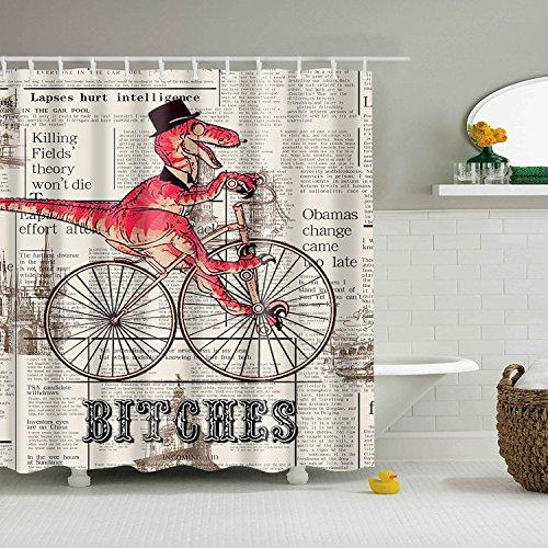 maplehouse personalizado dinosaurios Rode bicicletas impermeable cortina de ducha cortinas de baño resistente al agua cortina de ducha de tela (poliéster, 180x 180cm con 12ganchos de plástico cortina de ducha (71x 71inch