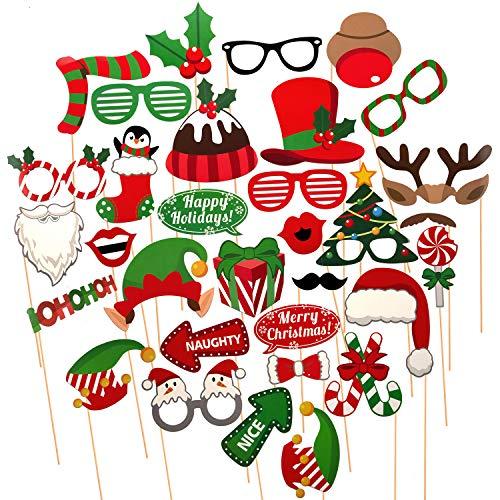 SAVITA 32 Stück Weihnachten Fotoautomat Props Kit Selfie Requisiten Zubehör für Weihnachten Theme Partyzubehör für Erwachsene Kinder