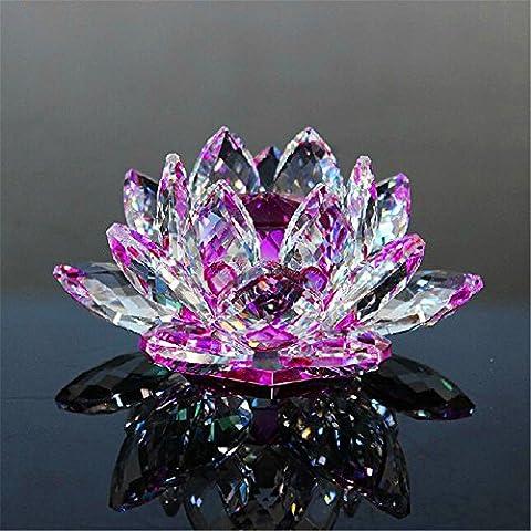 Transparent Quartz Cristal Cristal Lotus Pierre naturelle et Minérale Fossil Cristal Fleur pour Mariage Familial Artisanat (10cm)