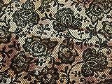 Floral Lace Print Baumwollsatin Kleid Stoff braun & Khaki–Meterware