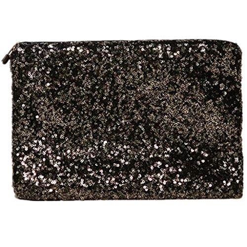 HangqiaoMujer bolsa de mano Lujo Lentejuelas bolso Purse clutch Hand Bag fiesta, Negro