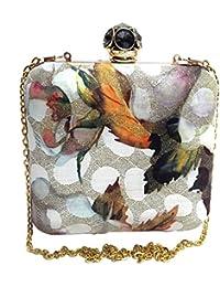 Arisha Kreation Co Multicolorl Square box Clutch Using Silk Fabric (Multicolor)